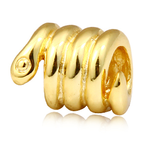 18K gold plate Snake charms Original 925 sterling silver thread style beads DIY jewelry making SS0419 free shipping(China (Mainland))