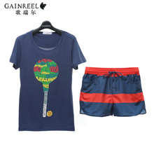 Summer song Riel Shuo Yu Liuxing section casual short sleeved shorts for men and women outer