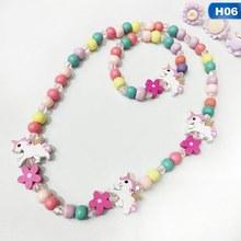 الكرتون الأرنب الحيوان زهرة خرزات خشبية مجوهرات للبنات مجموعة الاطفال الأطفال الفتيات قلادة سوار مجموعة حفلة عيد ميلاد مجوهرات هدية(China)