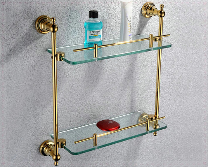Free shiping copper gold paint double layer glass shelf shelving bathroom shelf bathroom shelf GB012d-1 torneira banheiro cachoe(China (Mainland))