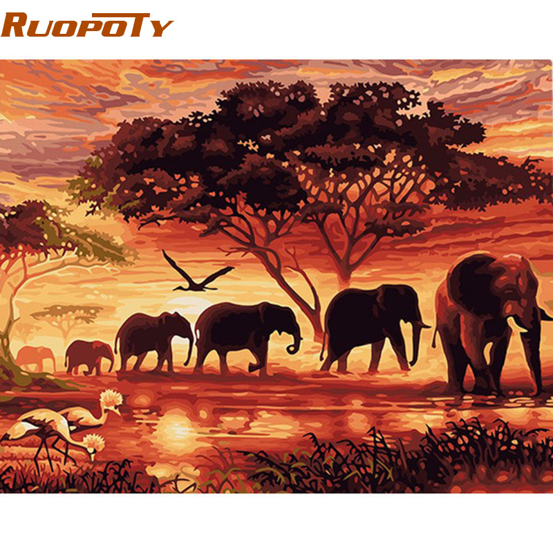 RUOPOTY Elephants Landscape DIY Digital Painting By Numbers Modern Wall Art Canvas Painting Unique Gift For Home Decor 40x50cm(China (Mainland))