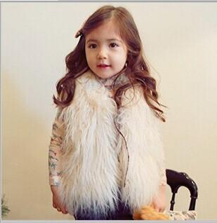 Бесплатная доставка 2014 осень зима blusas femininas девочки меховой жилет мода детской одежды следующая дети жилет костюм 4-8age(China (Mainland))