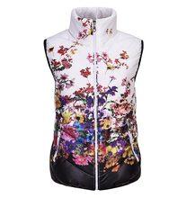 New 2016 Fashion Winter Vest Women Cotton Down O-Neck Print Flowers Women Jacket Vest Coat Plus size 5XL Casual Outwear CE286