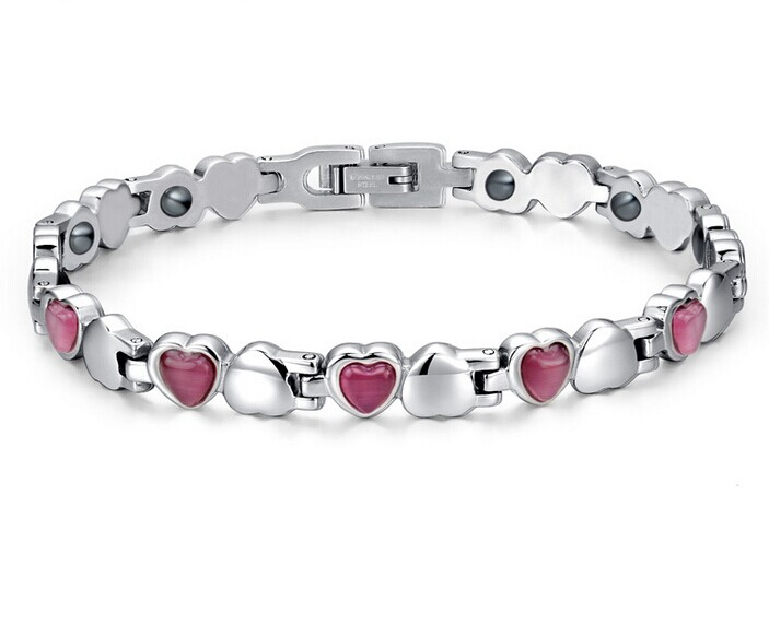 4 In 1 Healthy Elements Magnets Germanium Ion far frared Ladies Women Ion Negative Power Energy Magnetic Health Heart Bracelet(China (Mainland))