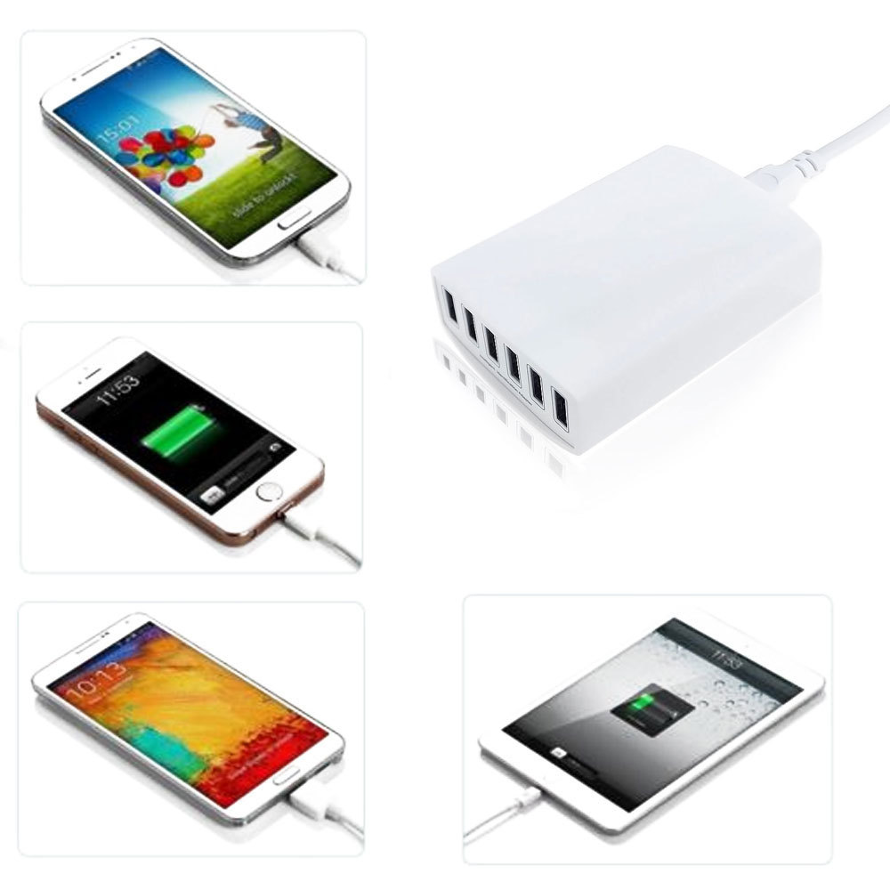 New Coming 60W 6-Port USB Hub Wall Charger Adapter For iphone Samsung Cellphone US plug(China (Mainland))