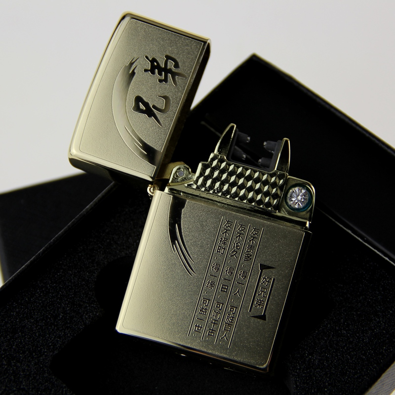 080 double usb charge electronic lighter windproof cigarette lighter metal diamond personality male(China (Mainland))