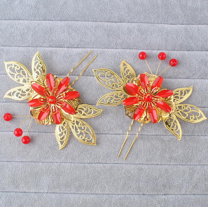 Chinese Style Bride Costume Hair Accessory Traditional Headdress 24K Gold-plated Flowers Crystal Beads Hairpins Hair Sticks Bob(China (Mainland))