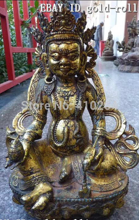 "[Nice Discount ] 13""China Tibet bronze gild mammon buddha statue(China (Mainland))"