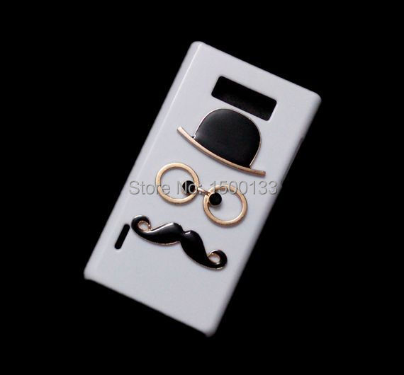 Handmade DIY Chaplin Show Cover, Unique Mustache Glasses Hat Designed Skin Shell, Hard Back Case For LG Optimus L7 P705 P700(China (Mainland))