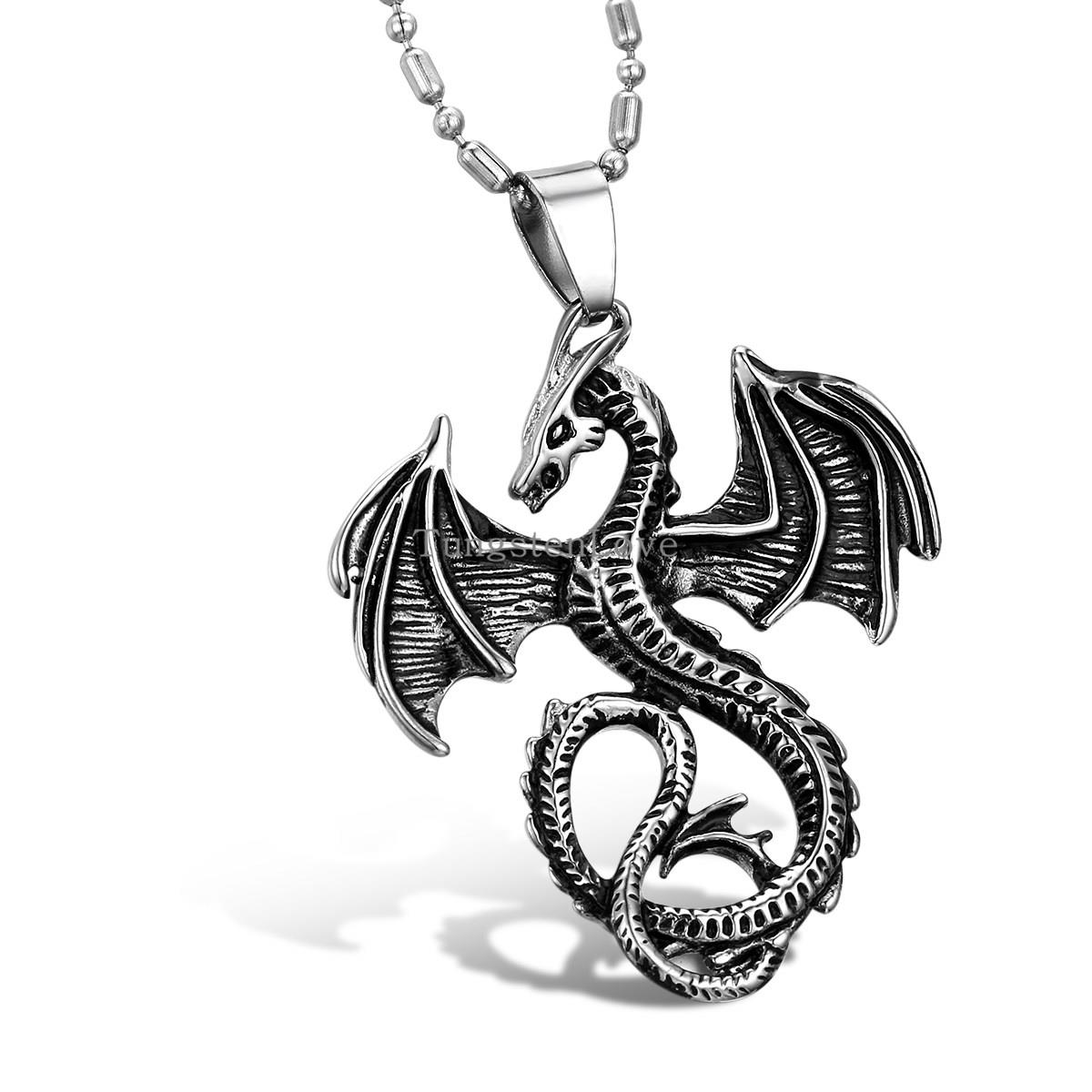 Mens Jewellery Cool Mens Stainless Steel Matte Flying Dragon Pendant Necklace hombre collares(China (Mainland))