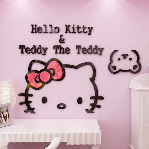 50*30cm 3D Hello Kitty Cat DIY Wall Stickers for Kids Rooms Bedrooms Acrylic Lovely Decals Poster Home Decor(China (Mainland))