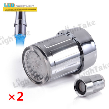 2pcs LED Faucet Three Color Changing Water Shower Glow Tap Light Self Powered Temperature Control sensor  - Silver