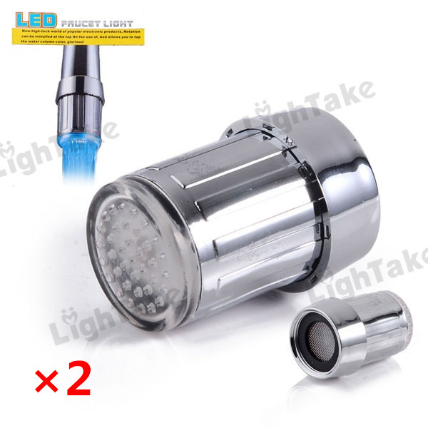 2pcs LED Faucet Three Color Changing Water Shower Glow Tap Light Self Powered Temperature Control sensor - Silver(China (Mainland))