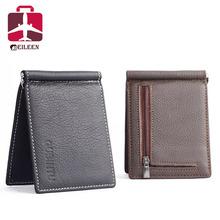 Men genuine leather wallet 2016 dollar price luxury famous designer high quality money clip men wallet(China (Mainland))