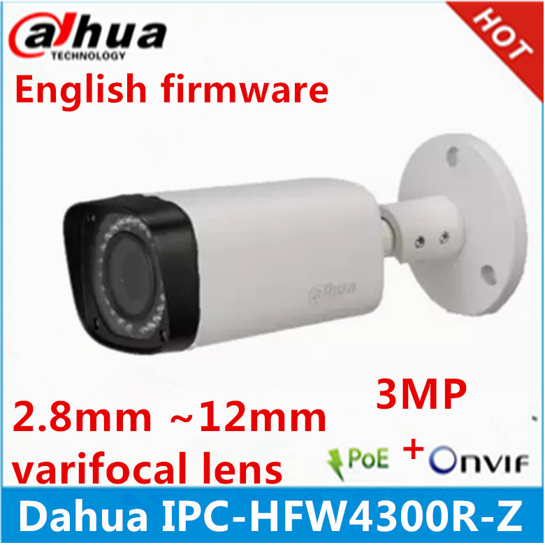 Dahua IPC-HFW4300R-Z 2.8mm ~12mm varifocal motorized lens network camera 3MP IR ip camera POE cctv camera english firmware(China (Mainland))