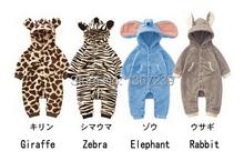 Newborn Lovely Animal style Baby romper Spring and autumn baby outerwear Giraffe /zebra /elephant/ rabbit  kids clothing(China (Mainland))