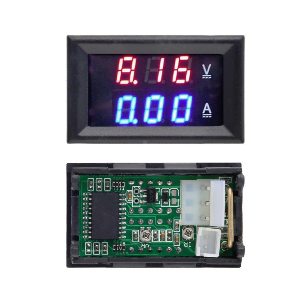 1pcs Hot Worldwide DC 100V 10A Voltmeter Ammeter Blue + Red LED Amp Dual Digital Volt Meter Gauge(China (Mainland))