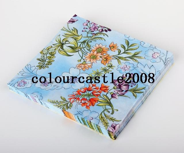 100 Pieces Patterned Pa flowers per Lunch Beverage Spot Style Party paper Napkins Outdoor Tableware Decor wedding napkins(China (Mainland))