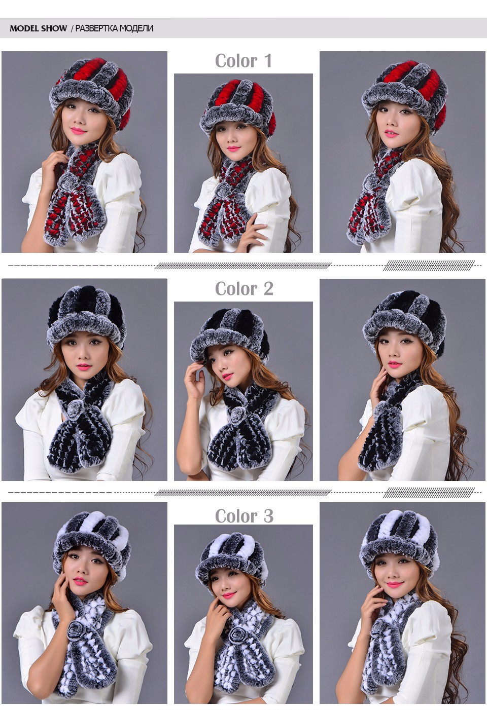 Rex Rabbit Fur Hat Scarf Set Autumn Winter Genuine Girls Natural Real Fur Scarves Elegant Warm Scarf Hat Two Pcs Set