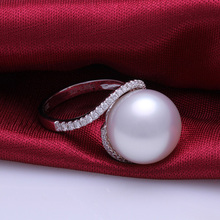Top Quality White South sea Pearl Ring 18K White Gold Dimmond Pearl Ring(China (Mainland))