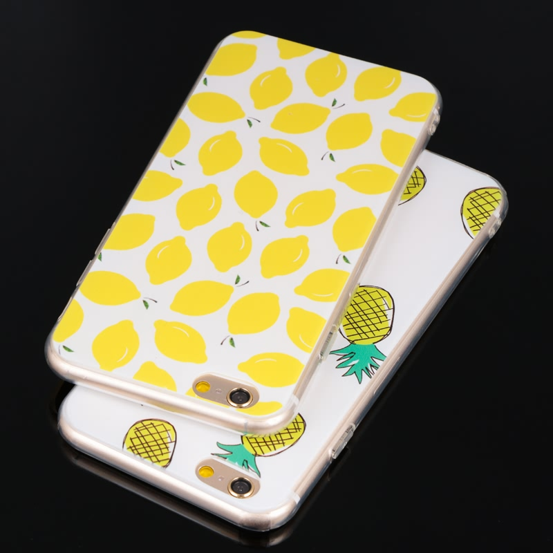 TPU Phone Back Cover for iphone 6/6s plus 5.5inch Cases Delicious Fruit Pear Banana Watermelon Strawberry Interesting Pattern(China (Mainland))