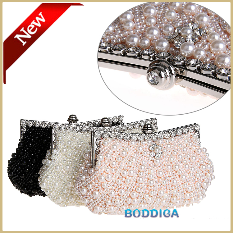 Handmade Small Beaded Clutch Bags Crystal Women White Clutch Purse Wedding Pearl Evening Bag Party Handbag Black/Pink Free Ship(China (Mainland))