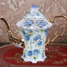 Fashion tea set coffee ceramic coffee tea sets wedding gift coffee golden rose tea