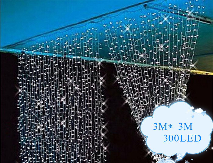 3M x 3M 300 LED Indoor Home Warm White Christmas Decorative xmas String Fairy Curtain Garlands Strip Party Lights For Wedding(China (Mainland))