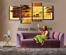 Promotional Price savannah 5pcs Large size HAND PAINTED oil painting Canvas Modern Decorative Abstract art wall Classical gift(China (Mainland))