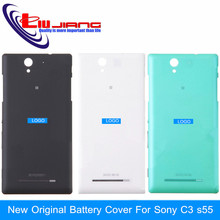Genuine Original New Back Battery Door for Sony Xperia C3 Rear Cover Housing Replacement with Power Volume Button Free Shipping