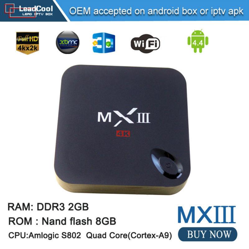 2015 Hot Sale Amlogic S802 Arabic Iptv Box With XBMC 4K RAM 1G ROM 8G MXIII Android 4.4 Smart Tv Box Media Player Free Shipping(China (Mainland))
