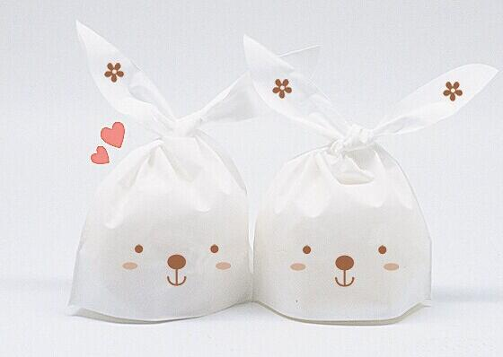 13*22cm 300pcs lovely white rabbit ear biscuit plastic bag cookie food cake package bakery Wedding Candy gift bag(China (Mainland))