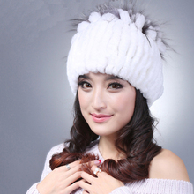 Hot Natural Rabbit Fur hats 2015 new autumn winter genuine natural fur hat women winter Beanies cap wholesale retail MC036