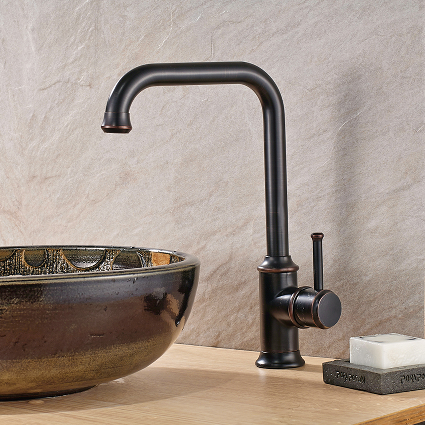 Фотография Best Quality Kitchen Faucets hot and cold brushed manual Swivel Sink Faucet modern Antique Single Handle water mixer Tap 015K