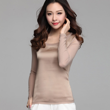 2015 new Summer women blouses casual chiffon silk blouse slim long sleeve O-neck blusa feminina tops shirts solid 8 color 65E 32 - Annie zeng Store store