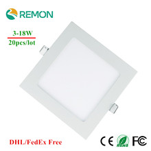 DHL Free Dimmable LED Downlight 3w 4w 6w 9w 12w 15w 18w LED Panel light Square LED Recessed Celing Lamp Warm Cold White Spot LED(China (Mainland))