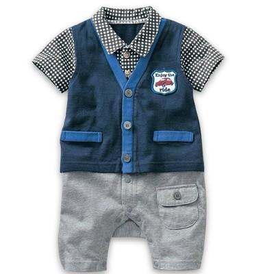 Newborn clothes male child autumn faux two piece one piece romper baby summer 100% cotton short-sleeve romper<br><br>Aliexpress