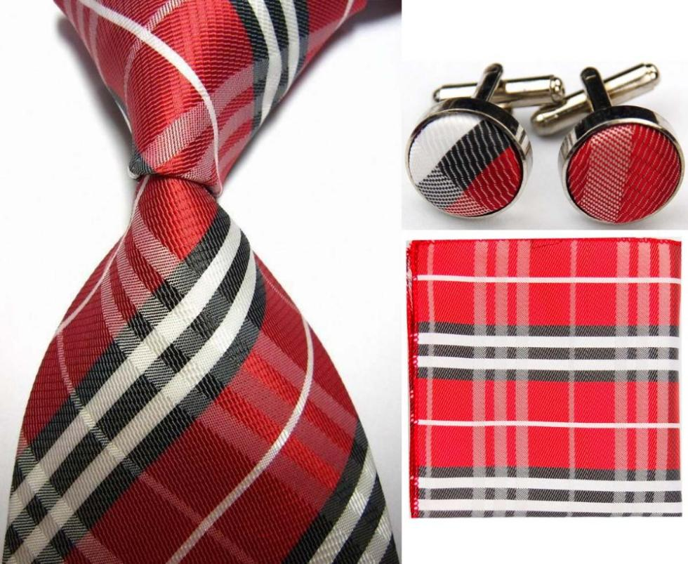 SNT0423 Red Black Stripes New Ties Solid Plain Hanky Handkerchief Cufflinks Men s Business Casual Party