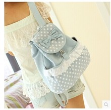 Female girls canvas backpack,school bag canvas bag,women's shoulder bag, polka dot lace preppy style backpack,free shippping(China (Mainland))