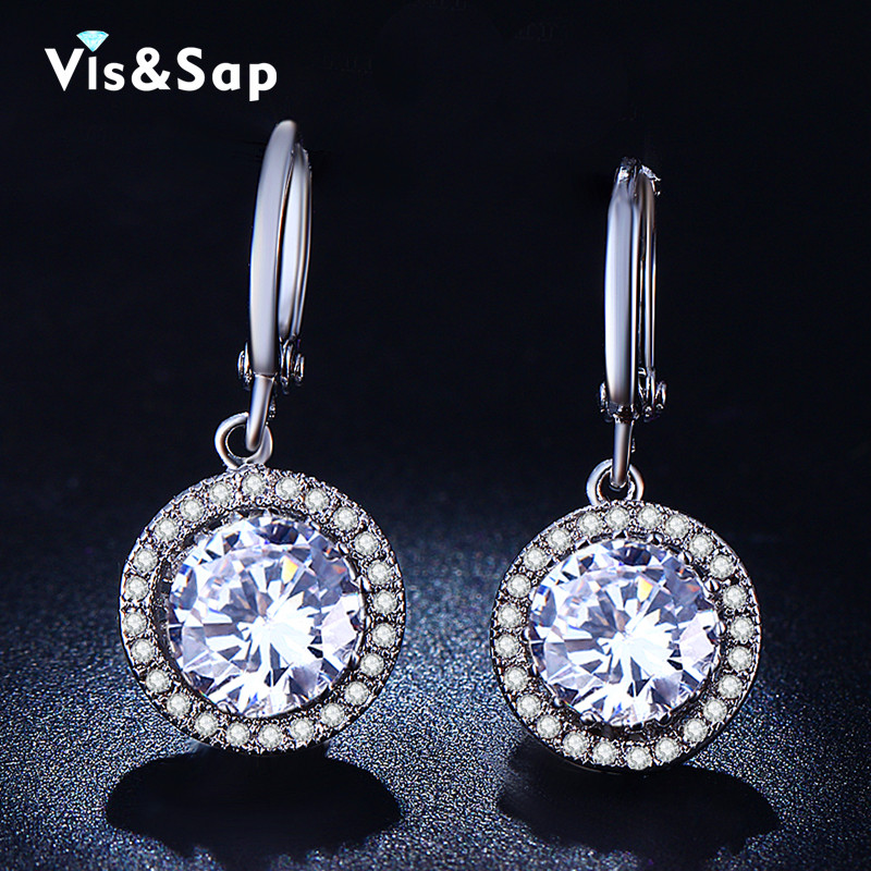White Gold Plated earrings round stone jewelry engagement Wedding earrings for women CZ diamond fashion jewelry bijoux VSE021(China (Mainland))