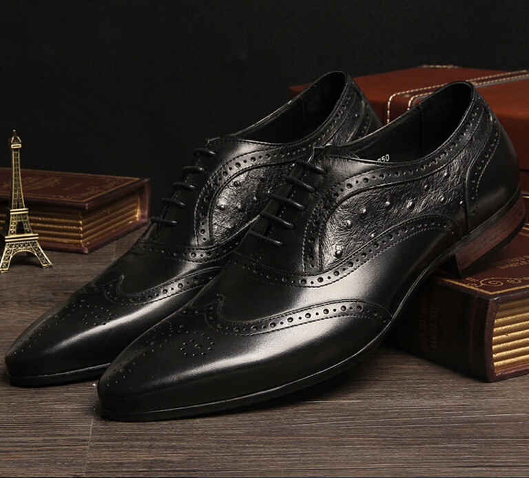 Фотография Breathable oxfords shoes Brown tan /Black dress shoes mens flats genuine leather business shoes formal mens wedding shoes