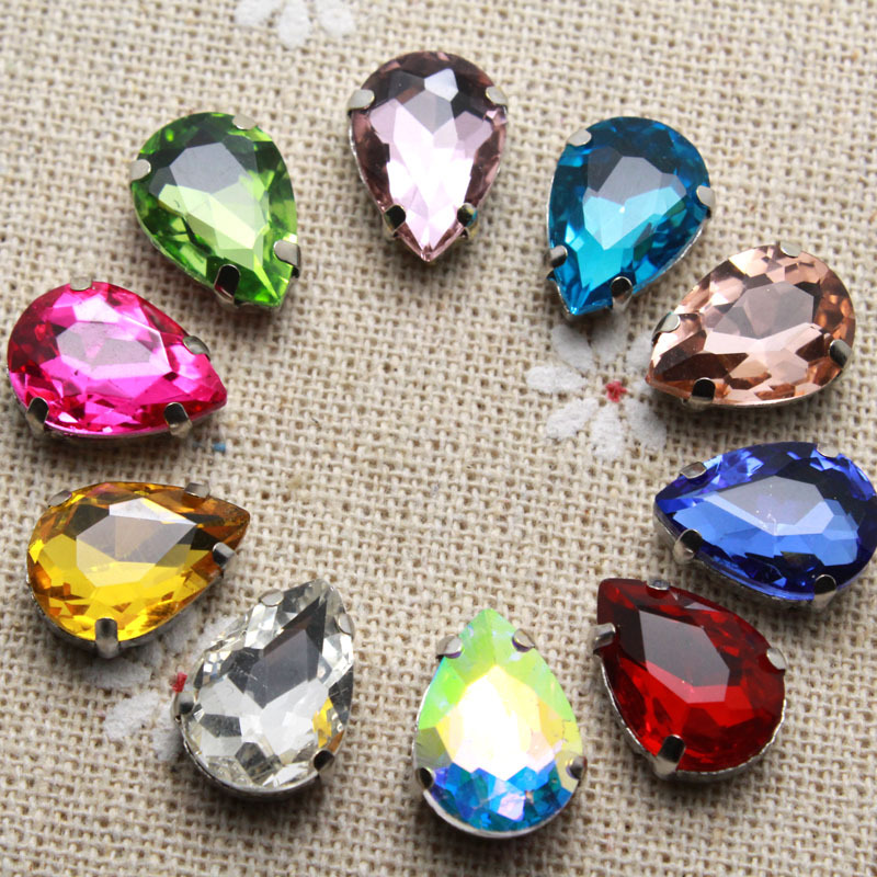 50pcs 10*14mm Crystal Mix Color Waterdrop Sew On Rhinestone With Claw Setting Silver Back Fancy Stone With Metal Claw With Holes(China (Mainland))