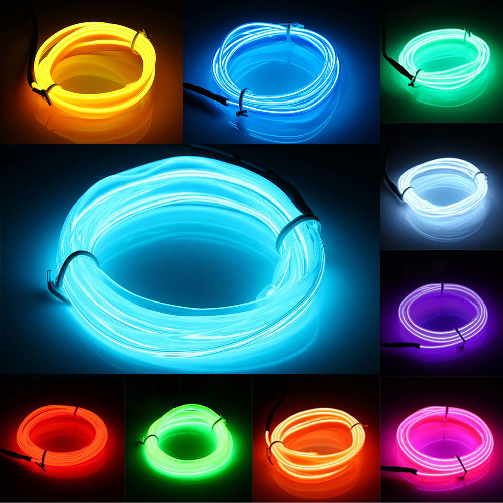 3M EL Wire Neon led Light Strips Hot Sale 9 Colors Illuminated Rope For Party Car Deco+ BATTERY PACK FREE SHIPPING(China (Mainland))