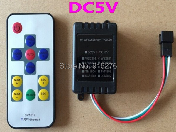 New 5V smart RF Wireless Controler WS2811 WS2812 WS2812B RGB pixel led strip module controller more effects FREE SHIPPING<br><br>Aliexpress