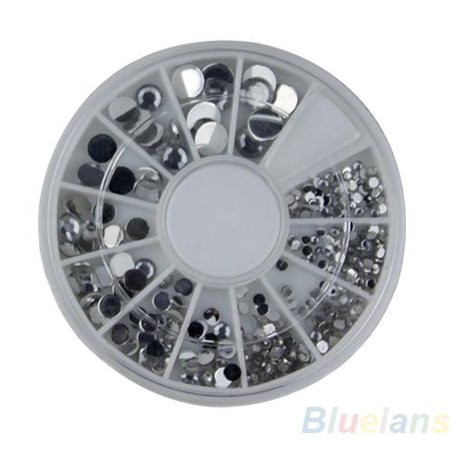 6 300 pcs Nail Art cristal Glitter Rhinestone dicas decoração roda 3D 0BRD