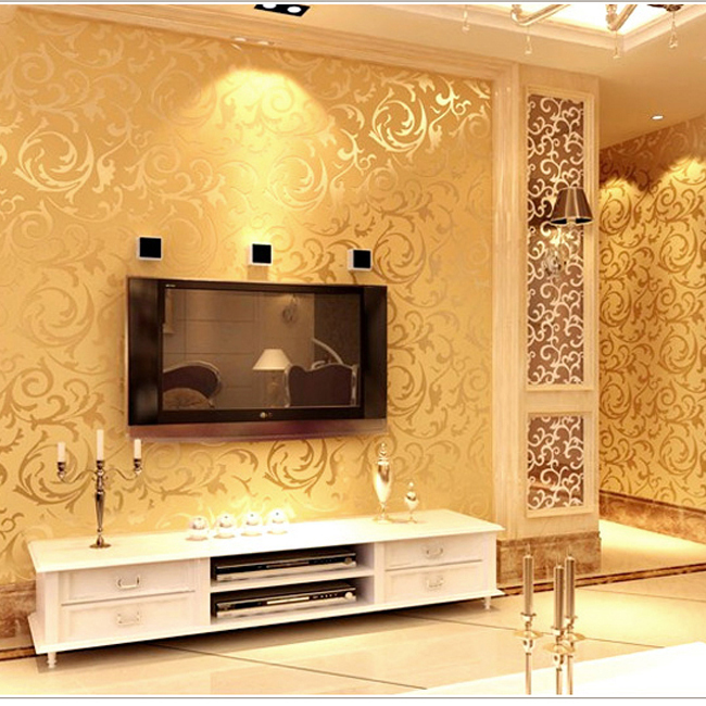 Gold wallpapers 3d wall murals european non woven wall for Wallpaper for bedroom walls