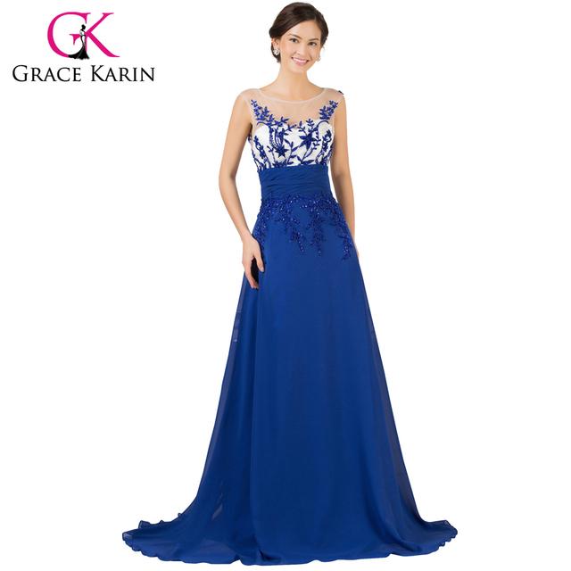 Грейс карин новое поступление рукавов королевский синий вечернее платье из шифона ...