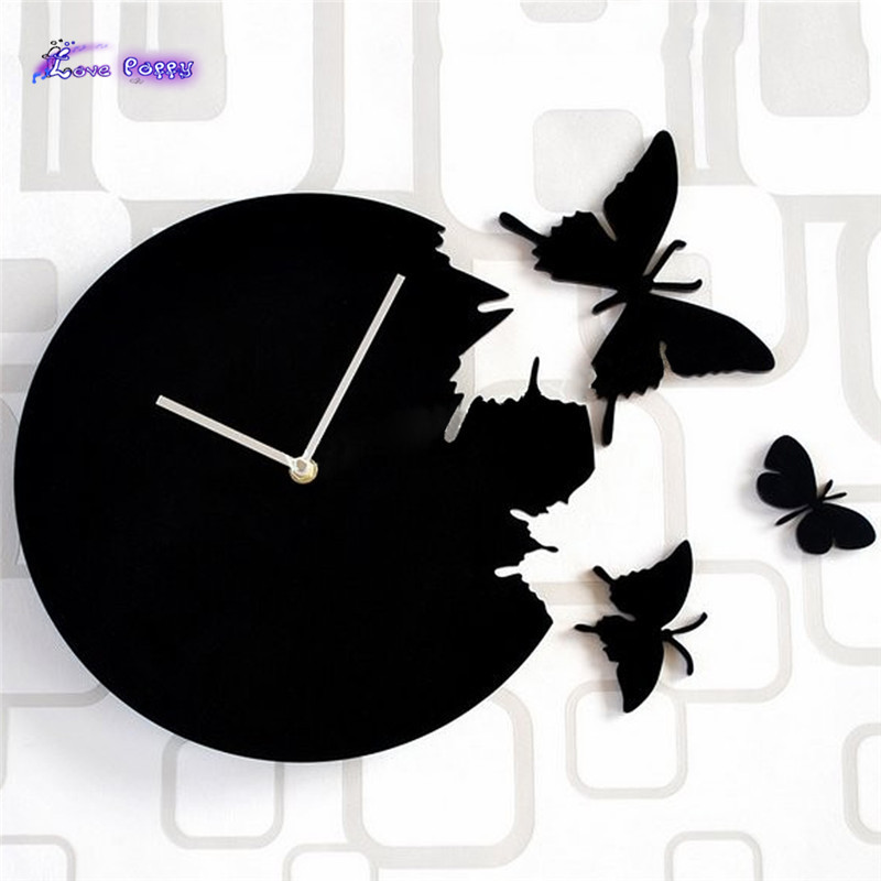 1 New Wall Clock Decor Home Art Design Modern Style Time Large Butterfly Xmas 2059(China (Mainland))