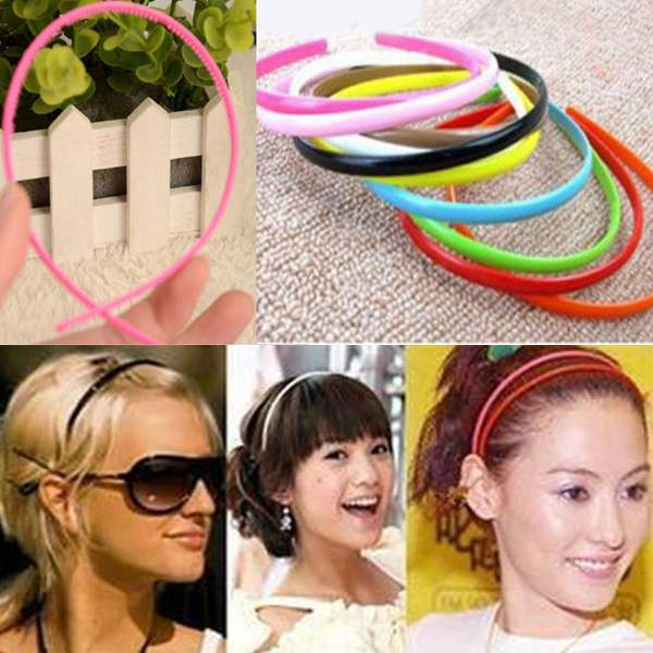10PCS 4cm Ladies/Girls/Kids Plastic hairbands Simple Style Hair Hoops Teeth candy color Headbands Free Ship (China (Mainland))