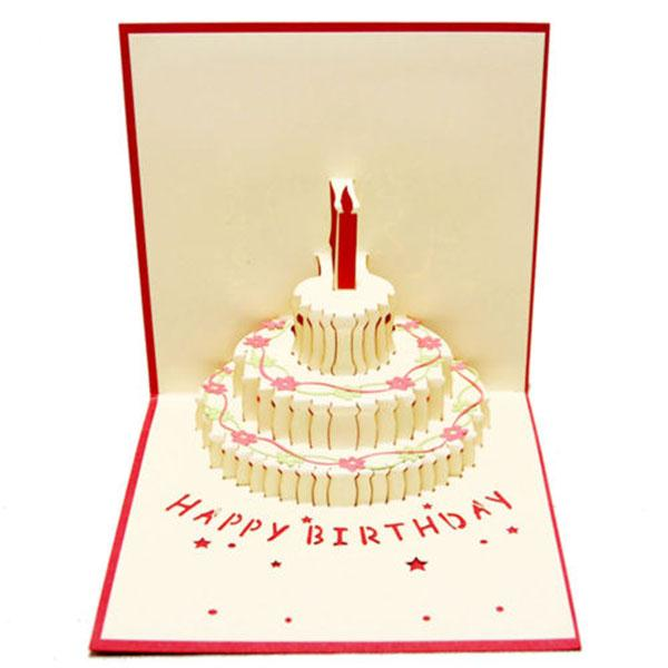 Greeting 3D Pop Up Cards Birthday Cake Happy Birthday Valentines Day Postcard(China (Mainland))